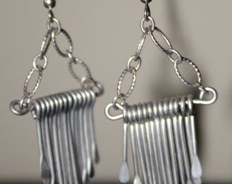 Hammered German Silver Fan Earrings