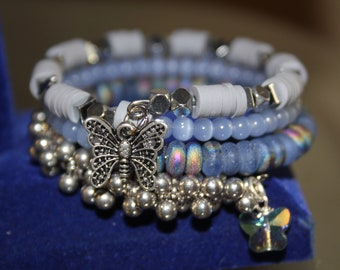 Blue, Gray and Silver Bead Wrapped Cuff Bracelet with Butterfly Charms
