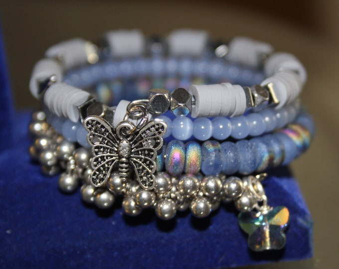 Blue, Gray and Silver Bead Wrap Cuff Bracelet with Butterfly Charms