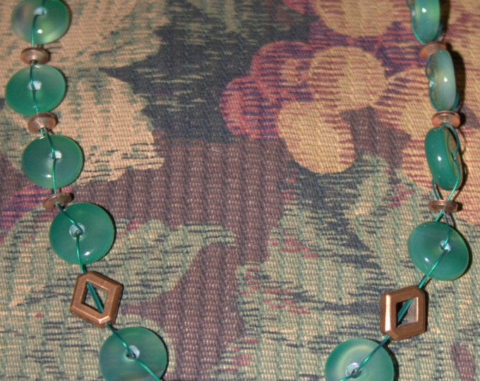 Green Jade and Copper Necklace