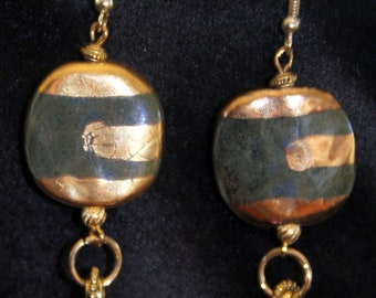 Green and Gold Kazuri Striped Earrings