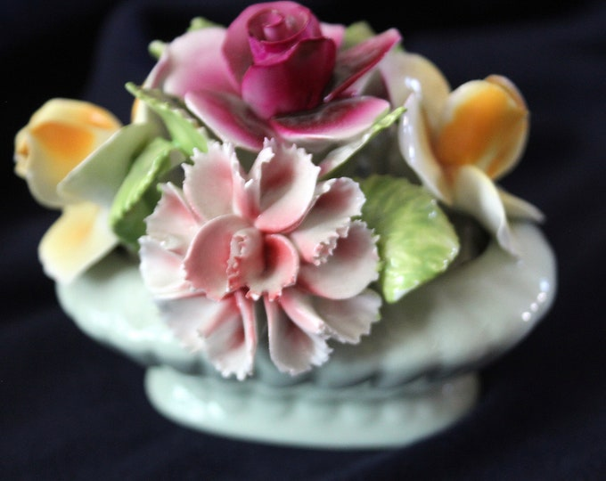 Thorley  Vintage 1950 Bone China Roses and Carnations in a Basket Made in Staffordshire, England