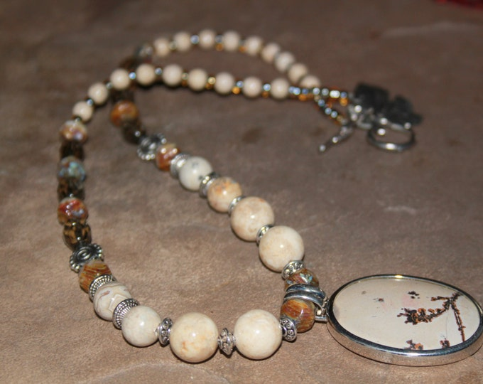 Dendrite Stone Pendant and Picture Jasper Necklace