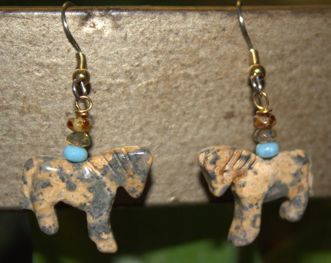 Tiny Picasso Jasper Horse Fetish and Turquoise Bead Earrings