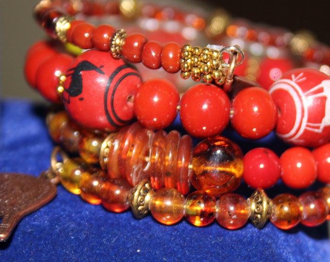 Faux Amber Wrist Wrap Cuff Bracelet With Peruvian Beads