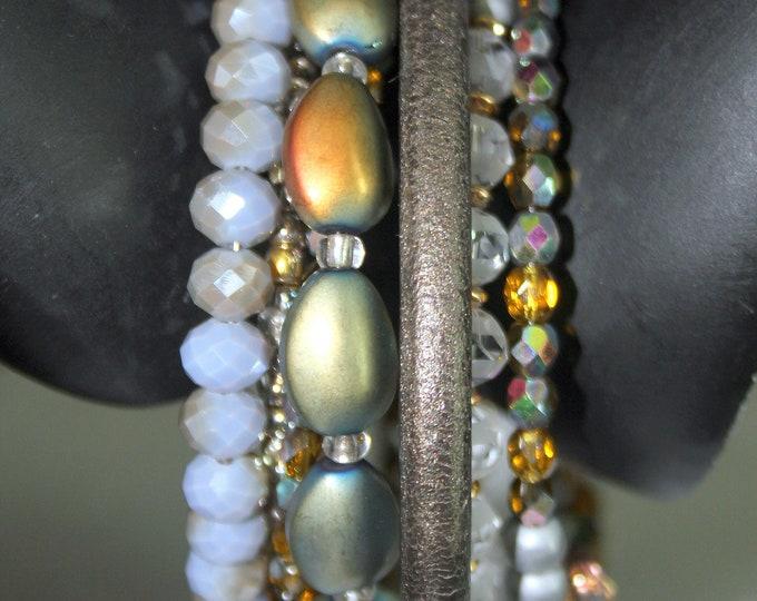 Green/Gray Beaded Memory Wire Wrist Cuff Bracelet