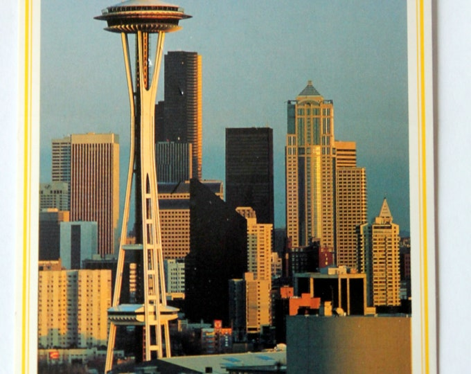 Vintage 1960's Space Needle and Seattle Skyline Postcard Unposted