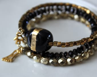 Black and Gold Kazuri Bead Stackable Wrist wrap Cuff Bracelet