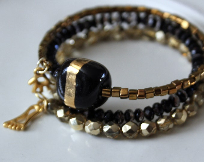 Black and Gold Kazuri Bead Stackable Wrist wrap Cuff Bracelet