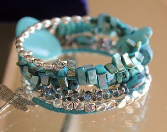 Turquoise Beads with Heart and Butterfly Wrist Wrap Stacked Memory Wire Cuff