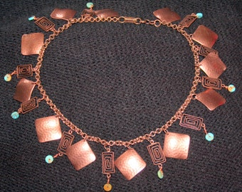 Hand Hammered Copper with Turquoise Discs Necklace