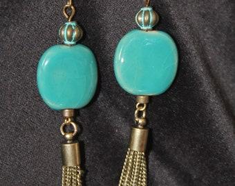 Turquoise Kazuri Bead Earrings with Brass Tassel