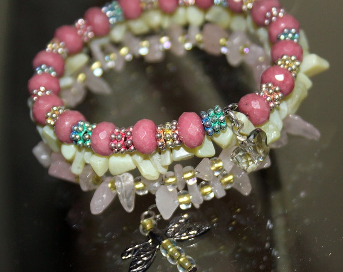 Rhodochrosite Rondelle Bead and Pink Quartz and Pale Green Jade Wrap Stacking Cuff Bracelet