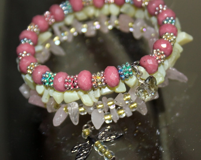 Pink Rhodochrosite Rondelle Bead and Pink Quartz and Pale Green Jade Wrap Stacking Cuff Bracelet