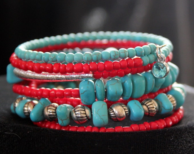 Red Seed Beads, Silver and Turquoise Memory Wire Wrist Wrap Cuff Stackable Bracelet