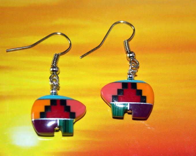 Inlaid Simulated Gemstone Zuni Bear Earrings