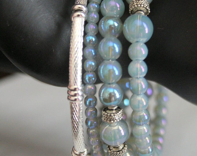 AB Coated Czech Bead Icy Blue and Bali Silver Memory Wrap Wrist Cuff Bracelet