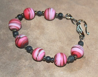 Pink and Gray Hand-Made Lampwork Glass Bead Bracelet