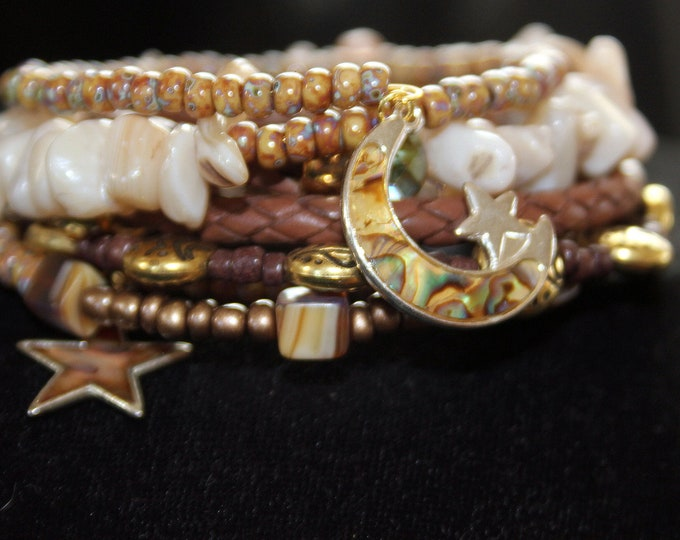 Leather and Shell Beaded Wrist Wrap Memory Wire Cuff Bracelet