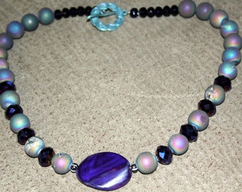 Purple Agate and Druzy Bead Necklace