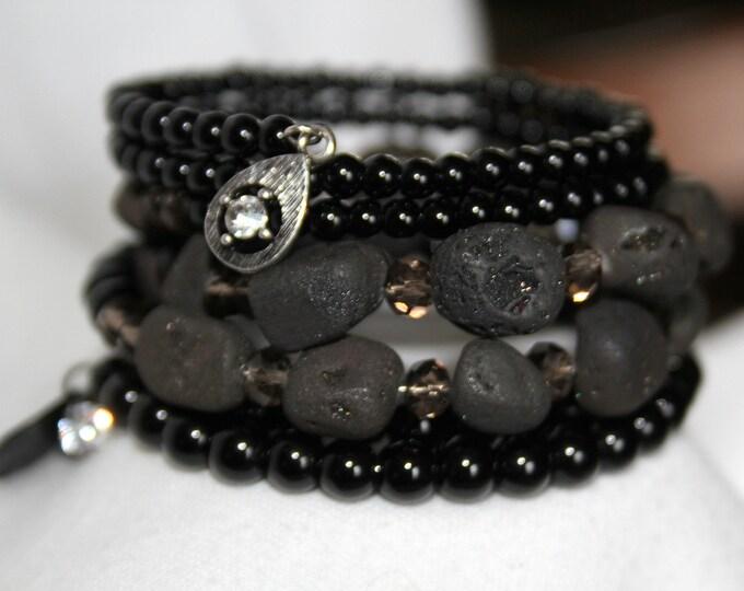 Black Druzy Stone and Onyx Wrist wrap Stackable Cuff Bracelet