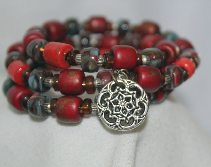 Cranberry Red Wrist Wrap Stackable Cuff Memory Wire Bracelet
