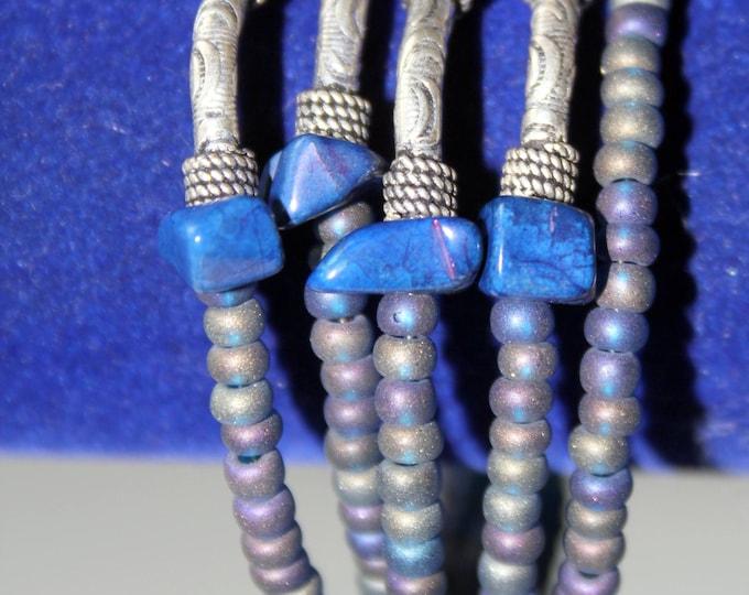 Lapis, Bali and Sterling Silver Wrist Wrap Cuff Bracelet