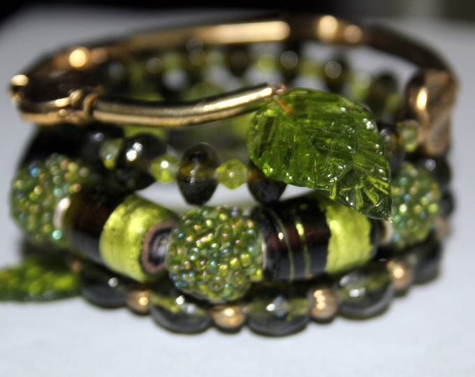 Vineyard Green Wire Wrap Cuff Bracelet Made from Recycled Vintage Necklace