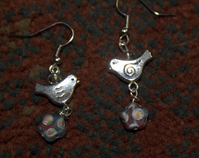 Silver Bird and Glass Flower Earrings