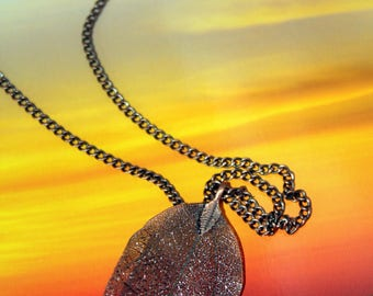 Lacey Copper Leaf Pendant and Chain Necklace