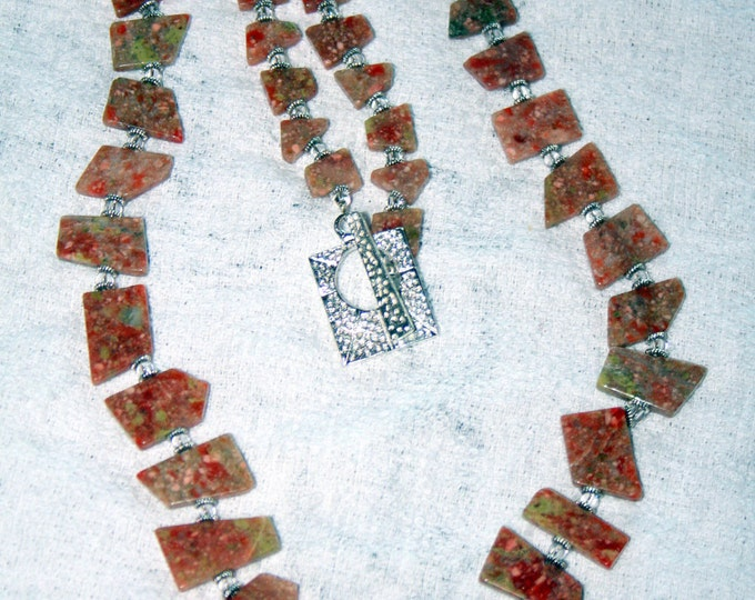 Geometric Shaped Long Unakite Necklace