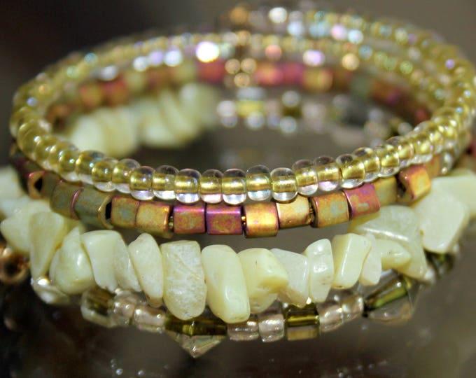 Yellow Green Jade and Czech Glass Beads Memory Wire Wrist Wrap Cuff Bracelet