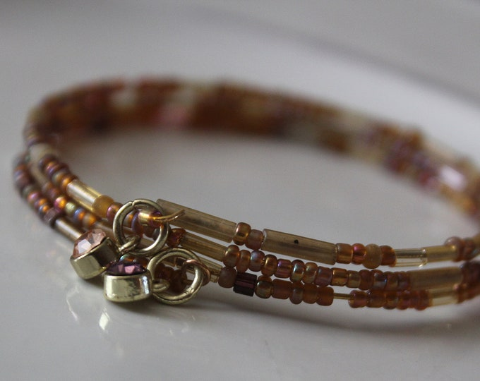 Stackable Tiny Light Bronze (Sienna) Colored Seed Bead Wrist Wrap Cuff Bracelet