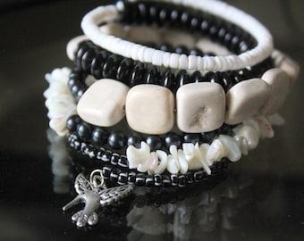 White and Black Stone Wrist Wrap Stacked Bracelet