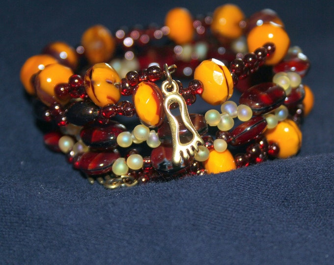 Magenta and Deep Amber Beaded Wrist Wrap Cuff Stackable Bracelet