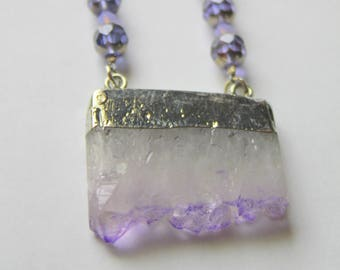 Amethyst Pendant with Purple Faceted Crystal Beads and Silver Toned Leaf Toggle Clasp