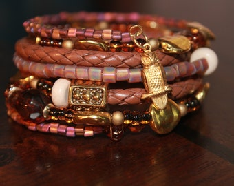 Tan Leather and Beaded Memory Wire Wrist Wrap Cuff