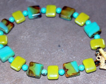 Contemporary Czech Turquoise and Sea Green Glass Bead Bracelet