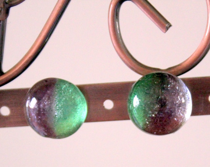 Aurora Borealis Dichroic Glass Button Stud Earrings
