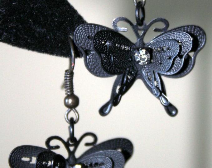 Vintage-Looking Black Woven Wire Butterfly Earrings