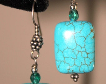 Turquoise  Colored Puffed Pillow Earrings