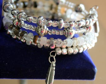 Semi-Precious Gemstone Chip Wrist Wrap Cuff Bracelet