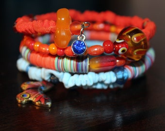 Caribbean Orange and Blue Beads and Ribbon Ruffle Memory Wire Wrist Wrap Bracelet