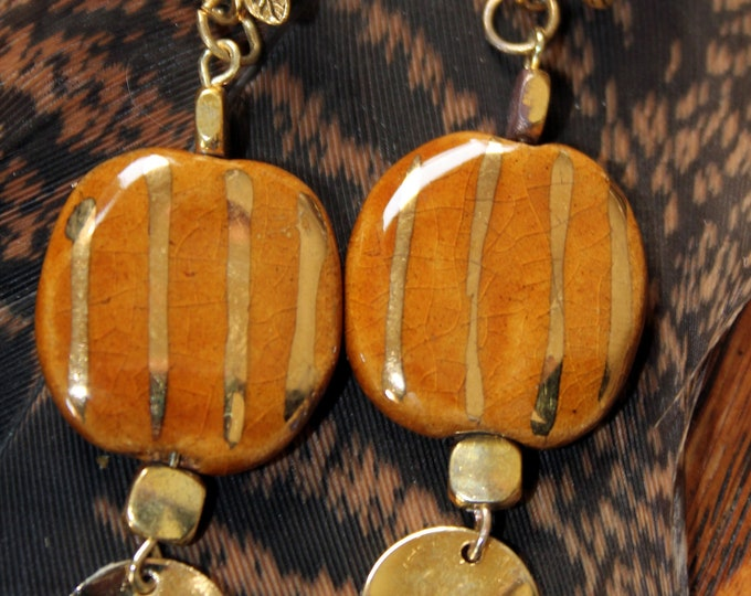 Kazuri Amber Tan and Gold Metallic Stripped Earrings