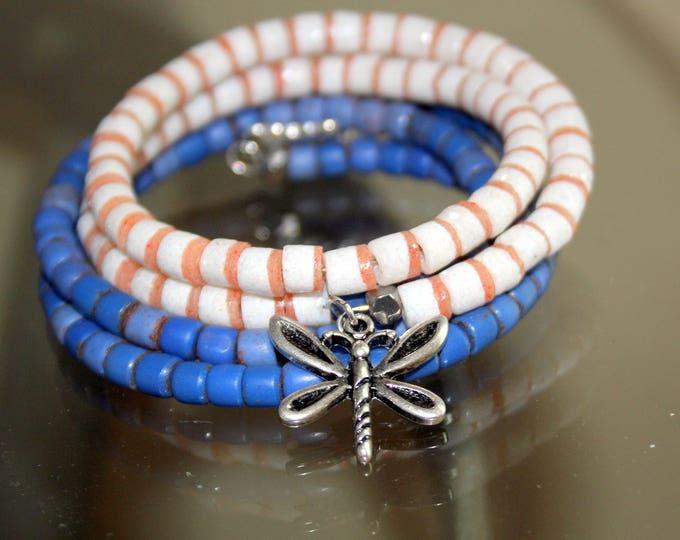 Blue and White African Trade Bead Wrist Wrap Bracelet