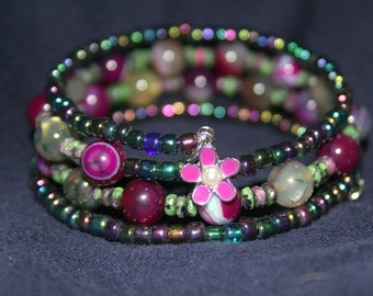 Magenta(Cranberry Red) Stone and Seed Bead Wrist Wrap Cuff Stacked Bracelet