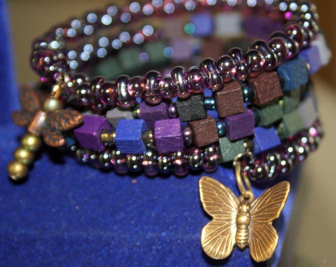 Wrist Wrap Cuff Bracelet with Wood and Czech Glass Beads