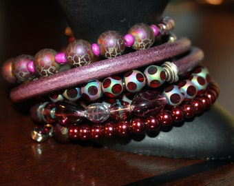 Wine Leather and Silver Beaded Memory Wire Wrist Wrap Cuff Bracelet
