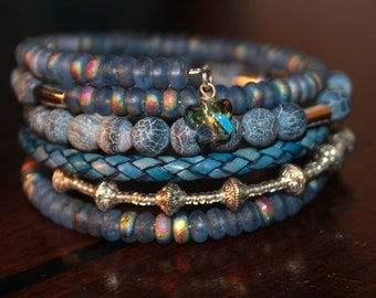 Blue Leather Lapis and Beaded Memory Wire Wrist Wrap Cuff Bracelet