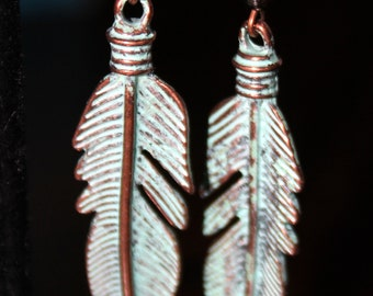 Copper Feather Earrings with Aqua Patina